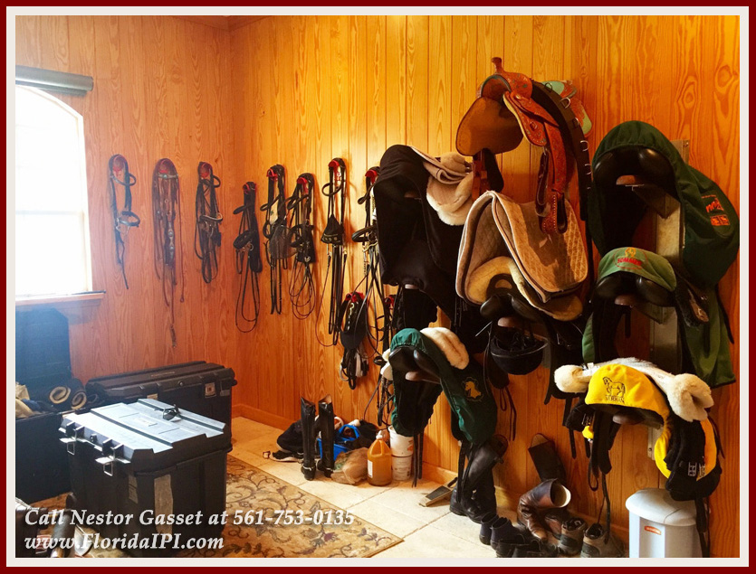Equestrian Home For Sale in Fox Trail Loxahatchee FL - 1154 -1092 Clydesdale Drive Loxahatchee FL 33470 - Air Conditioned Tack Room With 3 Racks
