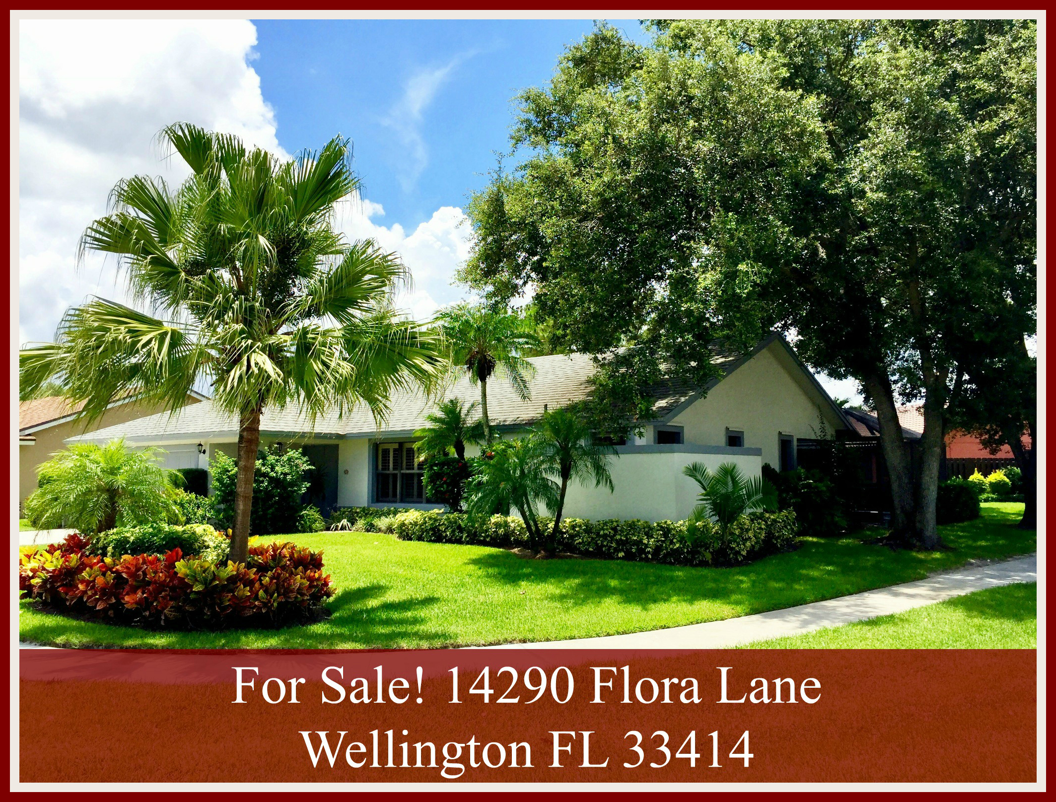 Wellington FL Sugar Pond Manor Home For Sale - This home sits on a corner lot and has been beautifully landscaped.