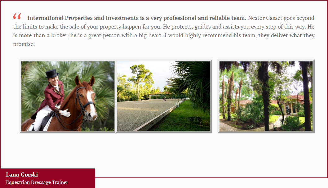 Loxahatchee FL Equestrian Real Estate Agent Review Nestor Gasset
